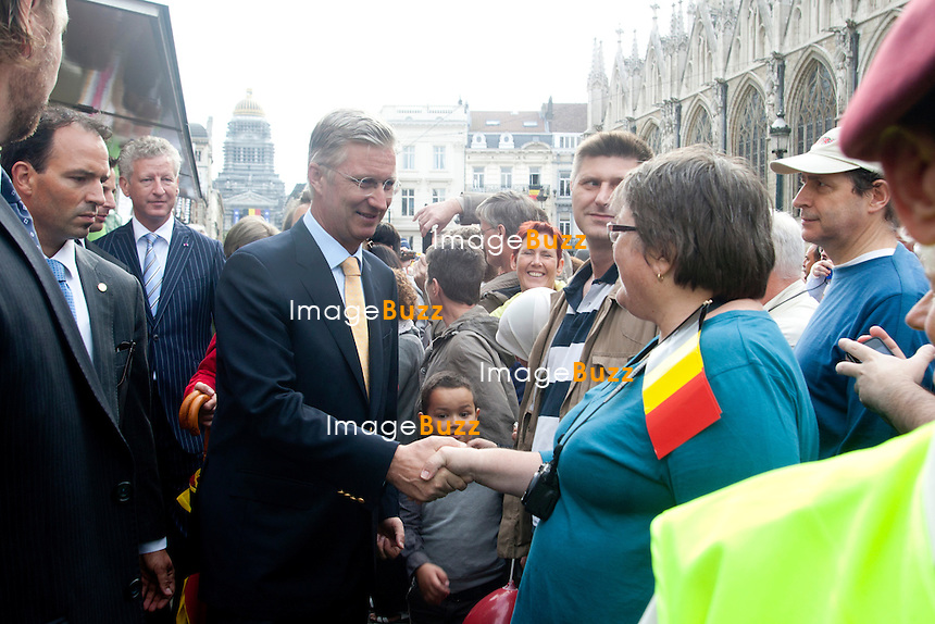 Crown Prince Philippe of Belgium  pictured on the streets of Brussels on the occasion of today's Belgian National Day, Saturday 21 July 2012 in Brussels.