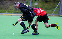 Action from the Wellington Hockey men's open grade premier three match between Karori 1M and Hutt United 3M at National Hockey Stadium in Wellington, New Zealand on Saturday, 21 July 2018. Photo: Dave Lintott / lintottphoto.co.nz