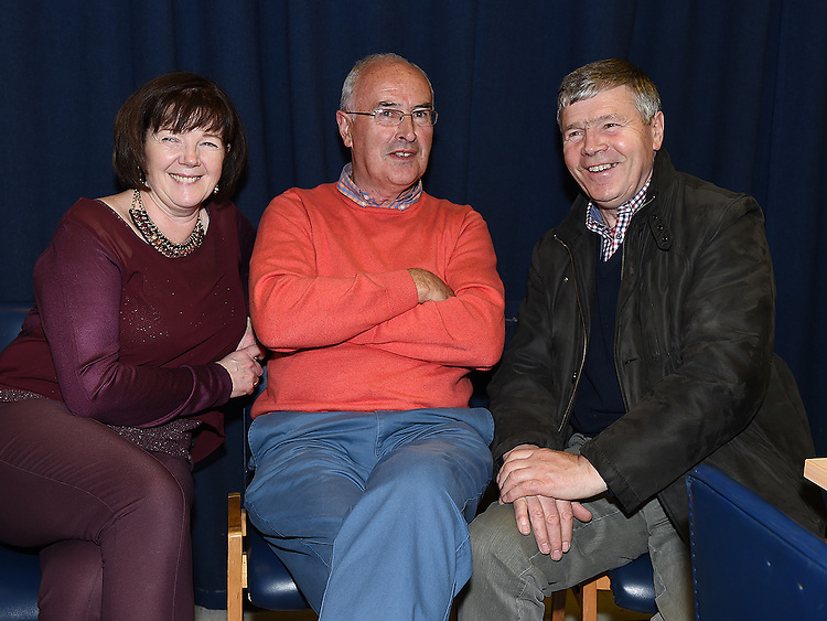 Joe and Ann McLaughlin and Danny Nugent pictured in the Medical Missionary of Mary auditorium for the presentation to Fr Emlyn McGinn. Photo:Colin Bell/pressphotos.ie