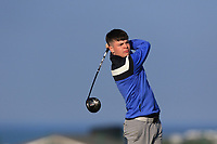 Sam Murphy on the 1st tee during Round 4 of The West of Ireland Open Championship in Co. Sligo Golf Club, Rosses Point, Sligo on Sunday 7th April 2019.<br /> Picture:  Thos Caffrey / www.golffile.ie