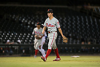 Scottsdale Scorpions relief pitcher Seth McGarry (72), of the Philadelphia Phillies organization, walks off the field between innings of an Arizona Fall League game against the Mesa Solar Sox at Sloan Park on October 10, 2018 in Mesa, Arizona. Scottsdale defeated Mesa 10-3. (Zachary Lucy/Four Seam Images)