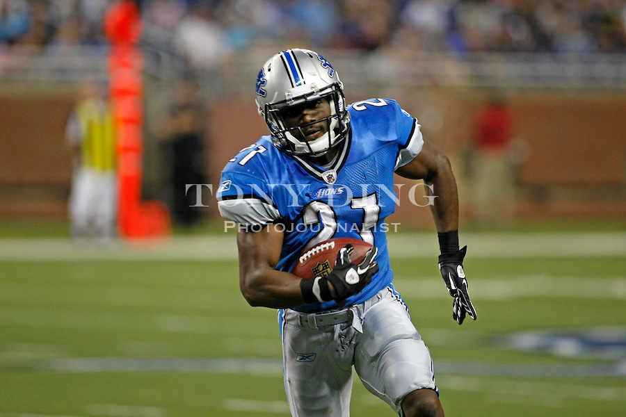Detroit Lions running back Aaron Brown (21) rushes with the ball in the fourth quarter of a preseason NFL football game with the Buffalo Bills, Thursday,  Sept. 2, 2010, in Detroit. The Lions won 28-23. (AP Photo/Tony Ding)