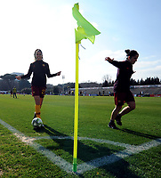 Agnese Bonfantini and Claudia Ciccotti of AS Roma during the warm up prior to the Women Italy cup round of 8 second leg match between AS Roma and Roma Calcio Femminile at stadio delle tre fontane, Roma, February 20, 2019 <br /> Foto Andrea Staccioli / Insidefoto