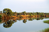 Zambesi River, Zambia. Riverscape with perfect reflection.