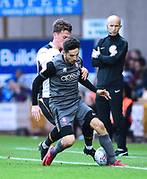 Lincoln City's Tom Pett shields the ball from Port Vale's Luke Hannant<br /> <br /> Photographer Andrew Vaughan/CameraSport<br /> <br /> The EFL Sky Bet League Two - Port Vale v Lincoln City - Saturday 13th October 2018 - Vale Park - Burslem<br /> <br /> World Copyright © 2018 CameraSport. All rights reserved. 43 Linden Ave. Countesthorpe. Leicester. England. LE8 5PG - Tel: +44 (0) 116 277 4147 - admin@camerasport.com - www.camerasport.com