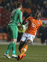 Blackpool's Armand Gnanduillet reacts as Bristol Rovers' goalkeeper Adam Smith beats him to the ball<br /> <br /> Photographer Stephen White/CameraSport<br /> <br /> The EFL Sky Bet League One - Blackpool v Bristol Rovers - Saturday 13th January 2018 - Bloomfield Road - Blackpool<br /> <br /> World Copyright &copy; 2018 CameraSport. All rights reserved. 43 Linden Ave. Countesthorpe. Leicester. England. LE8 5PG - Tel: +44 (0) 116 277 4147 - admin@camerasport.com - www.camerasport.com