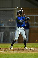 Dylan Arment (11) of the Lake Norman Wildcats at bat against the Davie War Eagles at Davie County High School on March 7, 2018 in Mocksville, North Carolina.  The Wildcats defeated the War Eagles 12-0.  (Brian Westerholt/Four Seam Images)