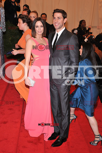 Emily Blunt and John Krasinski at the 'Schiaparelli And Prada: Impossible Conversations' Costume Institute Gala at the Metropolitan Museum of Art on May 7, 2012 in New York City. ©mpi03/MediaPunch Inc.