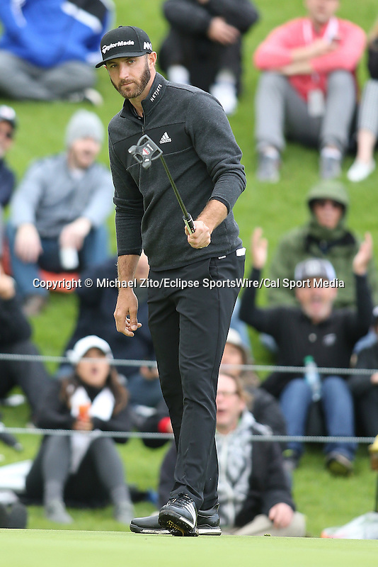February 18, 2017: Dustin Johnson during the second round of the 2017 Genesis Open played at Riviera Country Club in Pacific Palisades, CA. Michael Zito/ESW/CSM