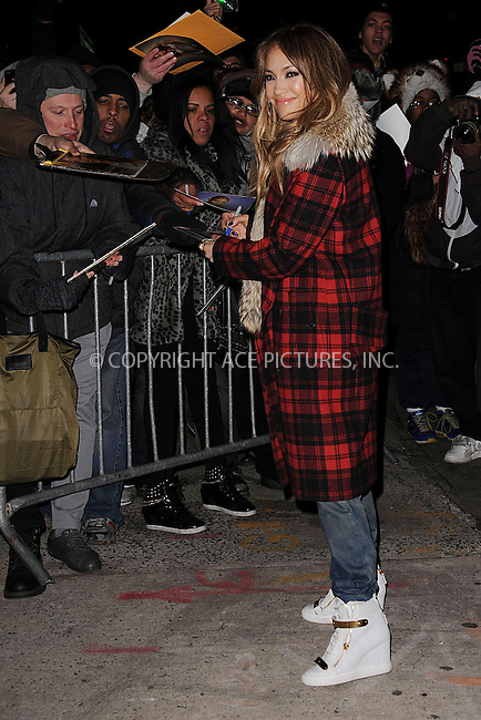 WWW.ACEPIXS.COM . . . . . .January 22, 2013...New York City....Jennifer Lopez leaves the studio after taping an appearance on The Daily Show with Jon Stewart on January 22, 2013 in New York City ....Please byline: KRISTIN CALLAHAN - ACEPIXS.COM.. . . . . . ..Ace Pictures, Inc: ..tel: (212) 243 8787 or (646) 769 0430..e-mail: info@acepixs.com..web: http://www.acepixs.com .