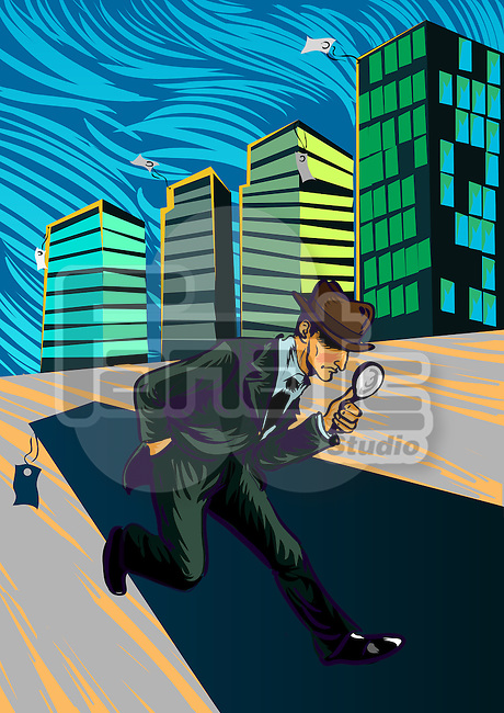 Businessman searching with a magnifying glass