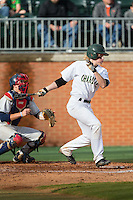 Brett Netzer (9) of the Charlotte 49ers follows through on his swing against the Florida Atlantic Owls at Hayes Stadium on March 14, 2015 in Charlotte, North Carolina.  The Owls defeated the 49ers 8-3 in game one of a double header.  (Brian Westerholt/Four Seam Images)