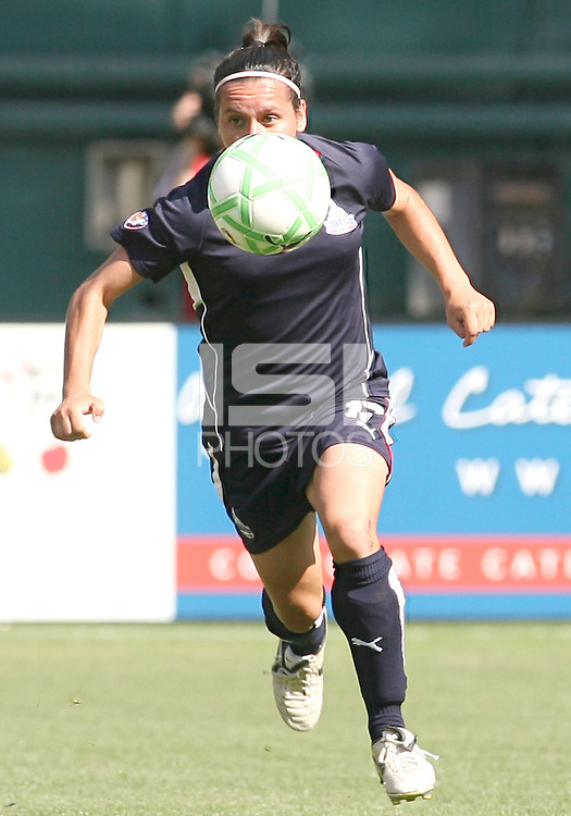 Lisa De Vanna #17 of Washington Freedom pushes the ball forward during a WPS match against Sky Blue FC at RFK Stadium on May 23, 2009 in Washington D.C. Freedom won the match 2-1