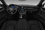 Stock photo of straight dashboard view of a 2018 Maserati Quattroporte S 2WD 4 Door Sedan