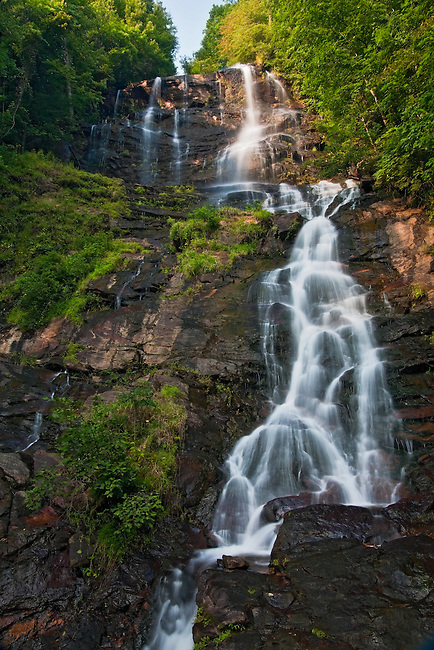 Amicalola Falls in summer, as viewed from the base of the falls, Amicalola Falls State Park, Georgia