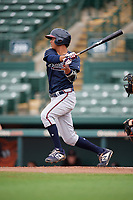 GCL Braves Vaughn Grissom (12) at bat during a Gulf Coast League game against the GCL Orioles on August 5, 2019 at Ed Smith Stadium in Sarasota, Florida.  GCL Orioles defeated the GCL Braves 4-3 in the first game of a doubleheader.  (Mike Janes/Four Seam Images)