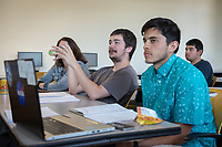 Classroom photos from Statistical Physics in Fowler Hall room 307 with Janet Scheel, Associate Professor, Physics. April 16, 2018.<br /> (Photo by Marc Campos, Occidental College Photographer)