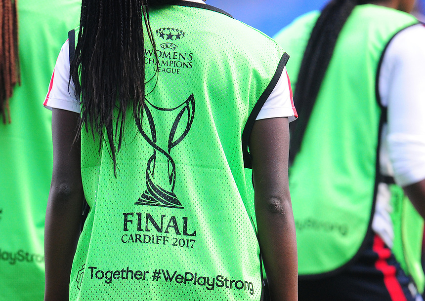Close-up detail of the players' training bibs<br /> <br /> Photographer Kevin Barnes/CameraSport<br /> <br /> UEFA Women's Champions League Final - Pre match training session - Lyon Women v Paris Saint-Germain Women - Wednesday 31st May 2017 - Cardiff City Stadium<br />  <br /> World Copyright &copy; 2017 CameraSport. All rights reserved. 43 Linden Ave. Countesthorpe. Leicester. England. LE8 5PG - Tel: +44 (0) 116 277 4147 - admin@camerasport.com - www.camerasport.com
