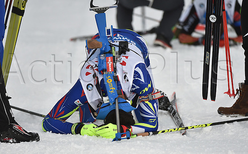 03.03.2016. Holmenkollen, Oslo, Norway.  Gold medalist Martin Fourcade of France celebrates in the finish area during the Mixed Relay competition at the Biathlon World Championships, in the Holmenkollen Ski Arena, Oslo, Norway, 03 March 2016.