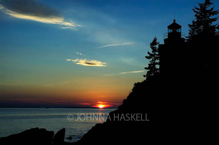 Sunset at Bass Harbor Head Lighthouse in Mount Desert Island, Maine.
