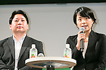 (L to R) Line's Chief Strategy and Marketing Officer Jun Masuda and Line Mobile's President and CEO Ayano Kado answer questions from journalists during a press conference on September 5, 2016, Tokyo, Japan. Line announced that it would launch its own mobile virtual network operator (MVNO) called Line Mobile, offering users unlimited browsing as well as free posts on Facebook and Twitter and unlimited use of Line's Chat and free calls. The Mobile system will use NTT DoCoMo's cellular network and its unlimited plans start from 500 JPY per month. Users will also be able to buy and transfer internet data as a gift to their contacts. (Photo by Rodrigo Reyes Marin/AFLO)