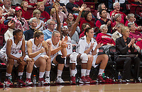(L-R) Stanford players Amber Orrange, Toni Kokenis, Mikaela Ruef, Chiney Ogwumike, and Joslyn Tinkle celebrates their victory over Long Beach on  Saturday, November 25, 2012, game against Long Beach State at Stanford. Stanford won 77-41.