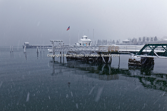 Rockland Harbor in a snowstorm, Rockland, Maine, USA