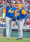 New York Mets manager Terry Collins (10) looks away as he reacts to the injury to left fielder Yoenis Cespedes (52), left, in the first inning against the Washington Nationals at Nationals Park in Washington, D.C. on Friday, August 25 2017.<br /> Credit: Ron Sachs / CNP<br /> (RESTRICTION: NO New York or New Jersey Newspapers or newspapers within a 75 mile radius of New York City)