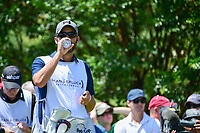 Jordan Spieth's (USA) caddie, Michael Greller rehydrates himself on the 7th tee box during round 2 of the Dean &amp; Deluca Invitational, at The Colonial, Ft. Worth, Texas, USA. 5/26/2017.<br /> Picture: Golffile | Ken Murray<br /> <br /> <br /> All photo usage must carry mandatory copyright credit (&copy; Golffile | Ken Murray)