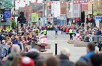 Lincoln City players travel on an open top bus through Lincoln's High Street as they celebrate winning the EFL Sky Bet League Two<br /> <br /> Photographer Chris Vaughan/CameraSport<br /> <br /> The EFL Sky Bet League Two - Lincoln City - Champions Parade - Sunday 5th May 2019 - Lincoln<br /> <br /> World Copyright © 2019 CameraSport. All rights reserved. 43 Linden Ave. Countesthorpe. Leicester. England. LE8 5PG - Tel: +44 (0) 116 277 4147 - admin@camerasport.com - www.camerasport.com