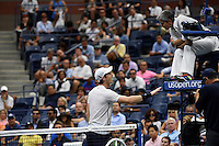 Andy Murray complains to the umpire during play against Kei Nishikori in the Men's Quarter-Finals of the US Open 2016 at the Billie Jean King National Tennis Centre, Queens, New York on the 7th September 2016