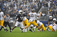 21 September 2013:  Penn State DE Deion Barnes (18) chases Kent State QB Colin Reardon (10) . The Penn State Nittany Lions defeated the Kent State Golden Flashes 34-0 at Beaver Stadium in State College, PA.