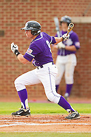 Dane McDermott #9 of the High Point Panthers follows through on his swing against the VMI Keydets at Willard Stadium on March 31, 2012 in High Point, North Carolina.  The Panthers defeated the Keydets 2-0.  (Brian Westerholt/Four Seam Images)