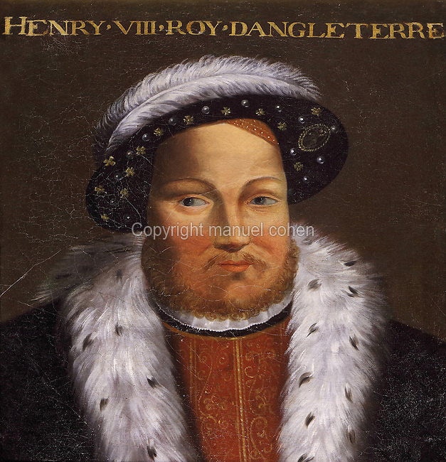 Portrait of Henry VIII, King of England, 1491-1547, Galerie des Illustres or Gallery of Portraits, early 17th century, in the Chateau de Beauregard, a Renaissance chateau in the Loire Valley, built c. 1545 under Jean du Thiers and further developed after 1617 by Paul Ardier, Comptroller of Wars and Treasurer, in Cellettes, Loir-et-Cher, Centre, France. The Gallery of Portraits is a 26m long room with lapis lazuli ceiling, Delftware tiled floor and decorated with 327 portraits of important European figures living 1328-1643, in the times of Henri III, Henri IV and Louis XIII. The chateau is listed as a historic monument. Picture by Manuel Cohen