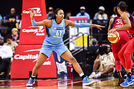 Washington, DC - July 13, 2018: Chicago Sky center Alaina Coates (41) gets back on defense during game between the Washington Mystics and Chicago Sky at the Capital One Arena in Washington, DC. The Mystics defeat the Sky 88-72 (Photo by Phil Peters/Media Images International)