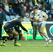 January 7th 2018, Ricoh Arena, Coventry, England;  Aviva Premiership rugby, Wasps versus Saracens;  Alex Lozowski on the charge for Saracens during the Aviva Premiership (Round 13) match between Wasps and Saracens rfc at the Ricoh Stadium