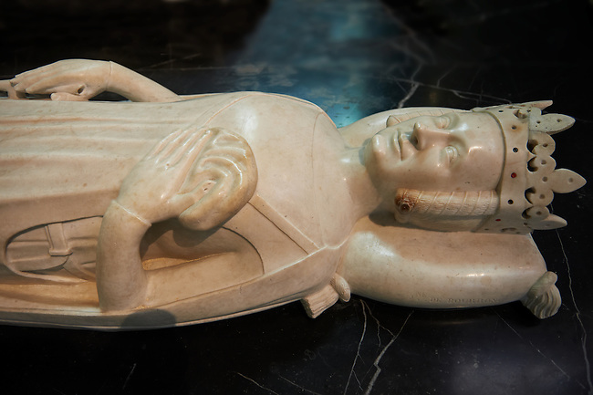 Medieval tomb of Jeanne (Joanna) of Bourbon (1338 - 1377) Queen of France and wife of Charles V .. The Gothic Cathedral Basilica of Saint Denis ( Basilique Saint-Denis ) Paris, France. A UNESCO World Heritage Site.