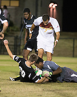 The Winthrop University Eagles beat the UNC Asheville Bulldogs 4-0 to clinch a spot in the Big South Championship tournament.  Achille Obougou (7), Zak Davis (23), Cole Schwietering (20)