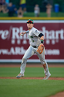 Clinton LumberKings second baseman Zach Scott (3) throws to first base during a Midwest League game against the Great Lakes Loons on July 19, 2019 at Dow Diamond in Midland, Michigan.  Clinton defeated Great Lakes 3-2.  (Mike Janes/Four Seam Images)