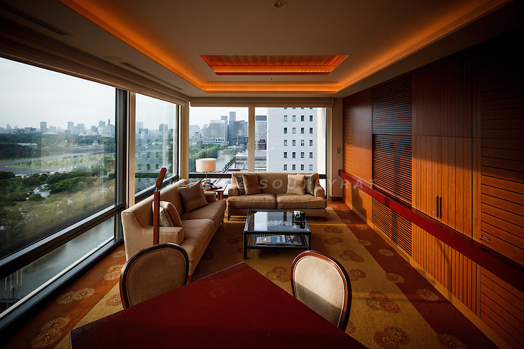 Tokyo, June 4 2012 - Rooms of the Peninsula hotel, overlooking the imperial palace.