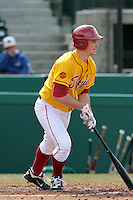 Kevin Roundtree (10) of the USC Trojans bats against the Jacksonville Dolphins at Dedeaux Field on February 19, 2012 in Los Angeles,California. USC defeated Jacksonville 4-3.(Larry Goren/Four Seam Images)
