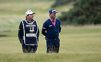 Graeme McDowell of Northern Ireland and caddie Ken Comboy look on during the Final Round of the 2015 Alfred Dunhill Links Championship at the Old Course, St Andrews, in Fife, Scotland on 4/10/15.<br /> Picture: Richard Martin-Roberts | Golffile