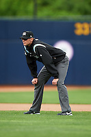 Umpire Eric Gillam during a game between the New Britain Rock Cats and Akron RubberDucks on May 21, 2015 at Canal Park in Akron, Ohio.  Akron defeated New Britain 4-2.  (Mike Janes/Four Seam Images)