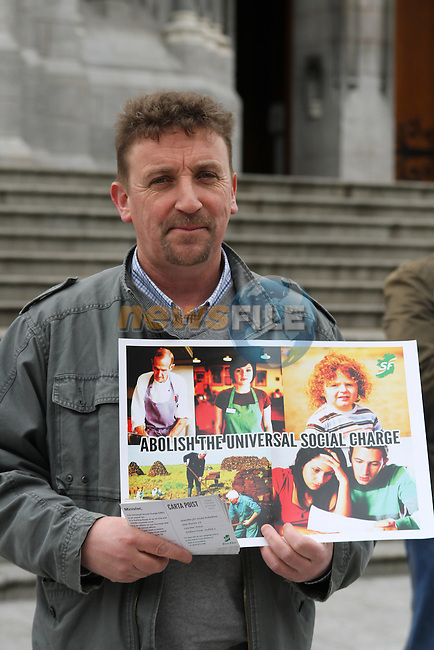Paddy McQuillan at the Launch of the Campaign against the Universal Social Charge in Drogheda...(Photo credit should read Jenny Matthews www.newsfile.ie)....This Picture has been sent you under the conditions enclosed by:.Newsfile Ltd..The Studio,.Millmount Abbey,.Drogheda,.Co Meath..Ireland..Tel: +353(0)41-9871240.Fax: +353(0)41-9871260.GSM: +353(0)86-2500958.email: pictures@newsfile.ie.www.newsfile.ie.