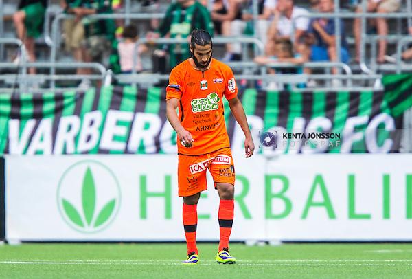 Stockholm 2014-05-24 Fotboll Superettan Hammarby IF - Varbergs BoIS FC  :  <br /> Varbergs Ali Sinan Ayranci deppar<br /> (Foto: Kenta J&ouml;nsson) Nyckelord:  Superettan Tele2 Arena HIF Bajen Varberg BoIS depp besviken besvikelse sorg ledsen deppig nedst&auml;md uppgiven sad disappointment disappointed dejected