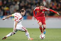 Spain's Jordi Alba (r) and Belarus' Timofei Kalachev during 15th UEFA European Championship Qualifying Round match. November 15,2014.(ALTERPHOTOS/Acero) /NortePhoto nortephoto@gmail.com
