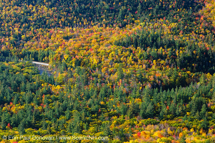 Kancamagus Scenic Byway from Boulder Loop Trail during the autumn months. The Kancamagus Scenic Byway (route 112) in the White Mountains, New Hampshire USA. Parts of the foreground are included in the proposed Northeast Swift Timber harvest project.