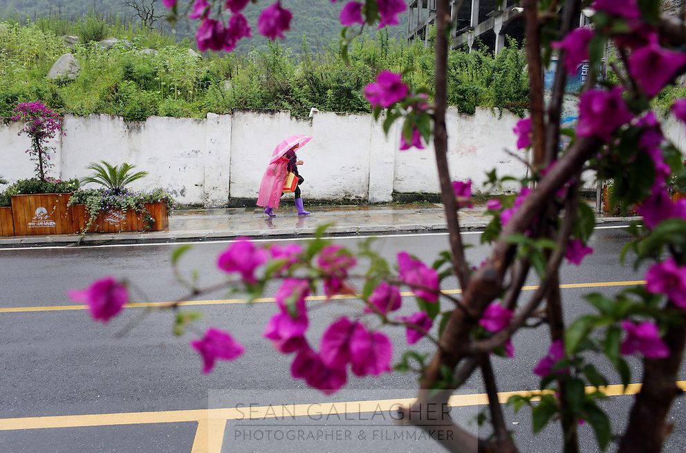 A woman walks along a street in a town near the Hailuogou glacier in western Sichuan Province, China. As a result of rising temperatures on the Tibetan Plateau, the Hailuogou glacier has retreated over 2 km during the 20th century alone. Since the Little Ice Age, studies have revealed that the total monsoonal glacier coverage in the southeast of the Tibetan Plateau has decreased by as much as 30 percent, causing alarm in scientific circles.