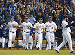 Royals team group,<br /> OCTOBER 5, 2014 - MLB :<br /> (L-R) Jeremy Guthrie, Johnny Giavotella, Norichika Aoki, Erik Kratz and Greg Holland of the Kansas City Royals celebrate after winning the American League Division Series (ALDS) Game 3 against the Los Angeles Angels at Kauffman Stadium in Kansas City, Missouri, United States. (Photo by AFLO)