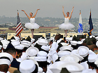 100702-N-7981E-274.SAN DIEGO (July 2, 2010) San Diego Ballet ballerinas perform Victory at Sea for service members during a naturalization ceremony on the flight deck of the USS Midway Museum. Three hundred service members from 51 countries became U.S. citizens during the ceremony sponsored by U.S. Citizenship and Immigration Services. (U.S. Navy photo by Mass Communication Specialist 2nd Class James R. Evans/Released).